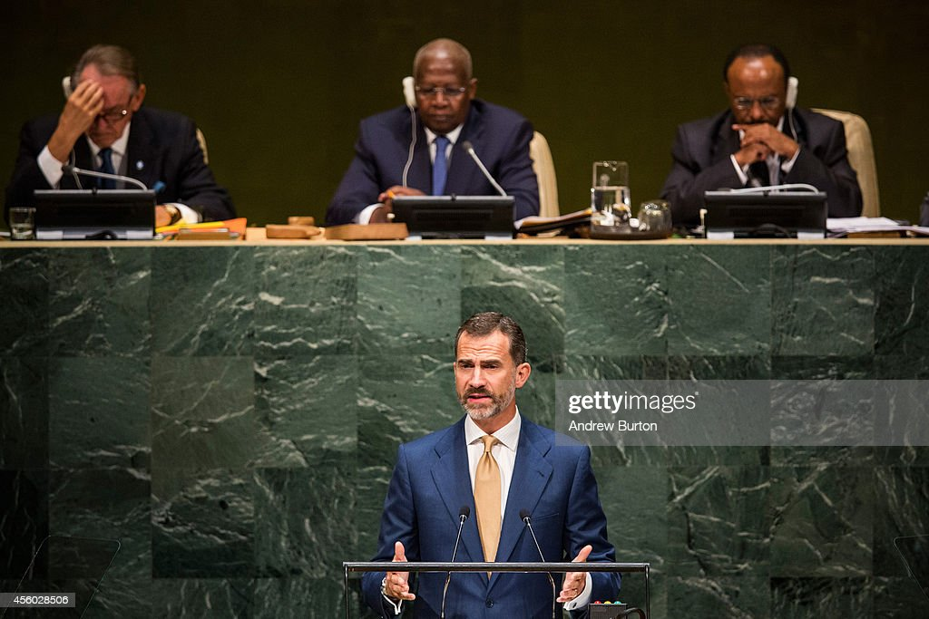 Felipe VI, the King of Spain, speaks at the 69th United Nations General Assembly at United Nations Headquarters on September 24, 2014 in New York City. The annual event brings political leaders from around the globe together to report on issues meet and look for solutions. This year's General Assembly has highlighted the problem of global warming and how countries need to strive to reduce greenhouse gas emissions.