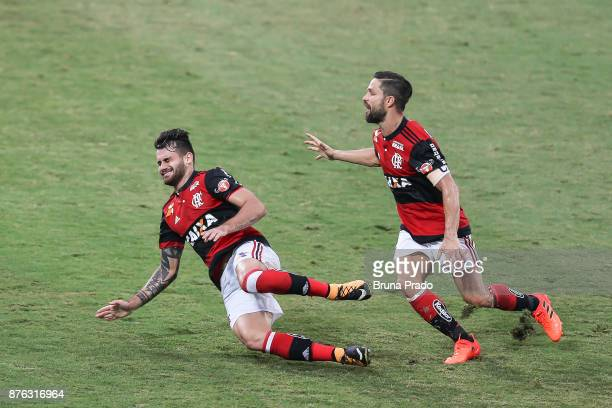 Felipe Vizeu and Diego of Flamengo celebrate a scored goal during the Brasileirao Series A 2017 match between Flamengo and Corinthians at Ilha do...