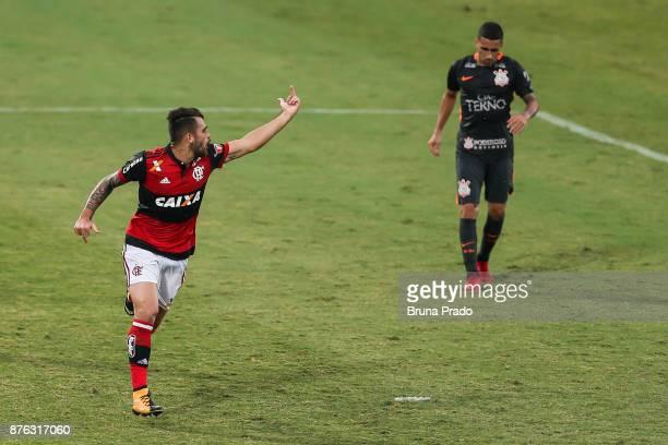 Felipe Vizeu of Flamengo celebrate a scored goal during the Brasileirao Series A 2017 match between Flamengo and Corinthians at Ilha do Urubu Stadium...