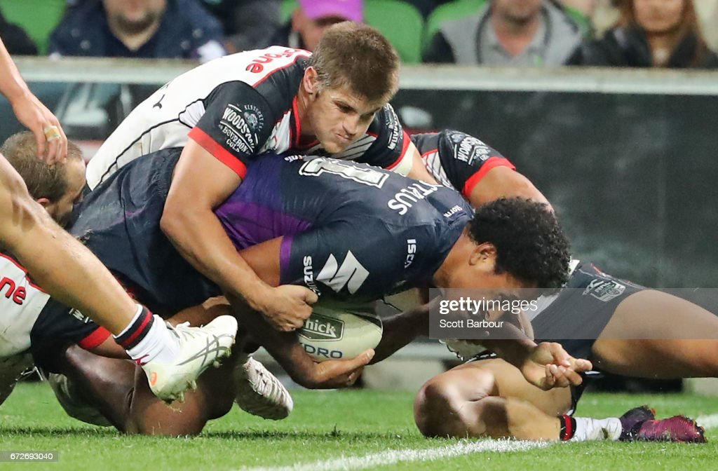 Felise Kaufusi of the Melbourne Storm scores a try during the round eight NRL match between the Melbourne Storm and the New Zealand Warriors at AAMI Park on April 25, 2017 in Melbourne, Australia.