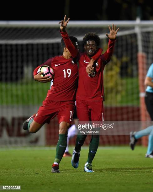 Felix Alexandre Andrade Sanches Correia of Portugal celebrates scoring their first goal during the International Match between Germany U17 and...
