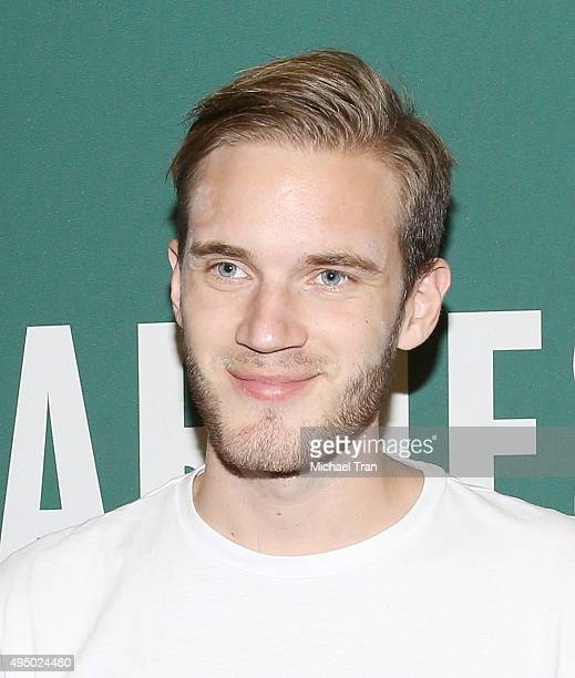 Felix Arvid Ulf Kjellberg aka PewDiePie attends the book signing for 'This Book Loves You' held at Barnes Noble at The Grove on October 30 2015 in...