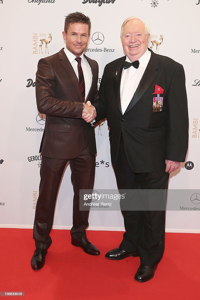Felix Baumgartner and Joe Kittinger attend 'BAMBI Awards 2012' at the Stadthalle Duesseldorf on November 22 2012 in Duesseldorf Germany