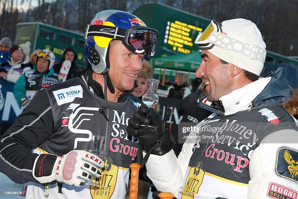 Felix Baumgartner and Luc Alphand participates in the Kitzbuehel Celebrities Charity Race on January 22 2011 in Kitzbuehel Austria