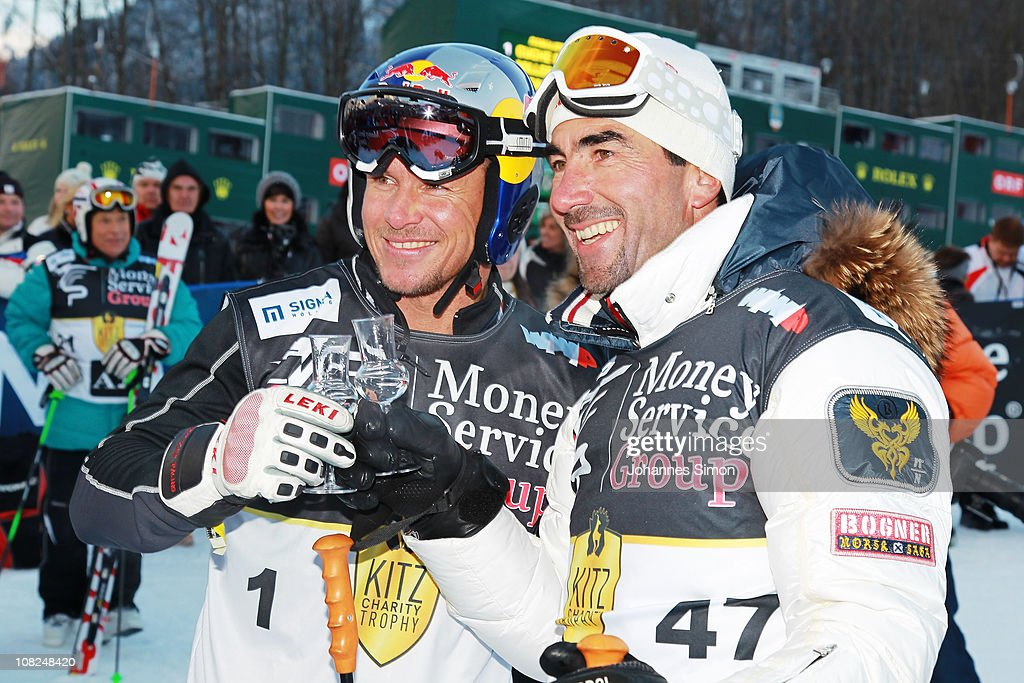 Felix Baumgartner and Luc Alphandp articipate in the Kitzbuehel Celebrities Charity Race on January 22 2011 in Kitzbuehel Austria