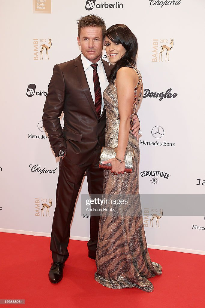 Felix Baumgartner and partner Nicole Oettl attend 'BAMBI Awards 2012' at the Stadthalle Duesseldorf on November 22, 2012 in Duesseldorf, Germany.