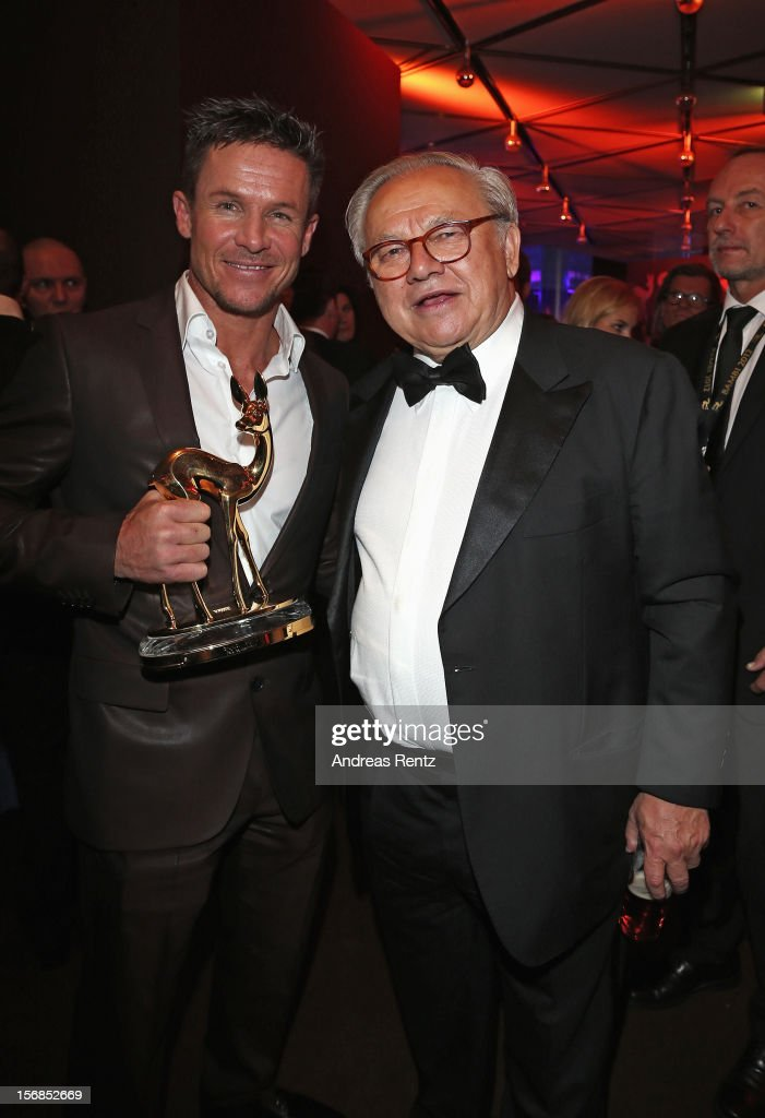 Felix Baumgartner and Publisher Hubert Burda attend after show party to the 'BAMBI Awards 2012' at the Stadthalle Duesseldorf on November 22, 2012 in Duesseldorf, Germany.