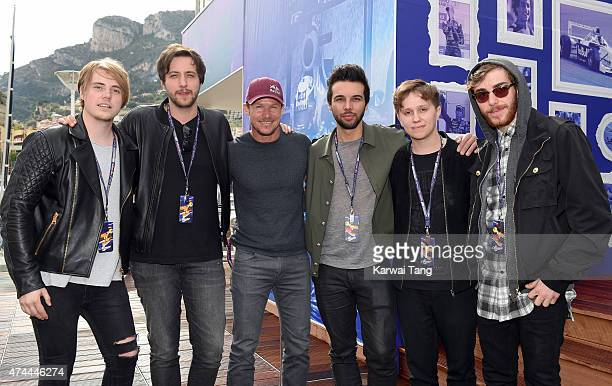 Felix Baumgartner poses with the band Nothing But Thieves at the Infiniti Red Bull Racing Energy Station at Monte Carlo on May 21 2015 in Monaco...