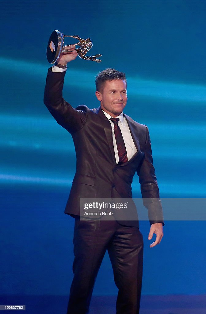 Felix Baumgartner receives the 'Millennium' Bambi during the 'BAMBI Awards 2012' at the Stadthalle Duesseldorf on November 22 2012 in Duesseldorf...