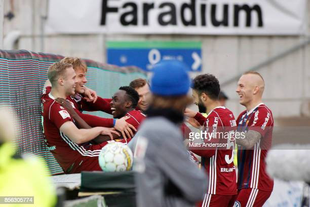 Felix Beijmo of Djurgardens IF celebrates after scoring during the Allsvenskan match between GIF Sundsvall and Djurgardens IF at Norrporten Arena on...
