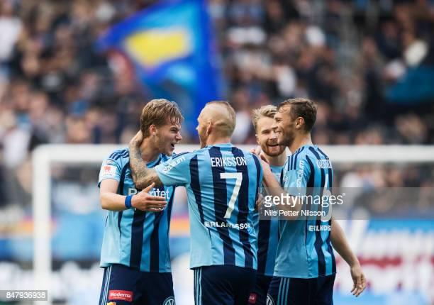 Felix Beijmo of Djurgardens IF celebrates after scoring to 20 during the Allsvenskan match between Djurgardens IF and Orebro SK at Tele2 Arena on...