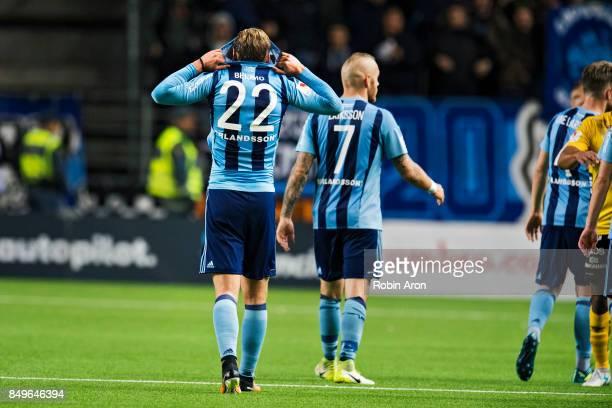 Felix Beijmo of Djurgardens IF dejected after the Allsvenskan match between IF Elfsborg and Djurgardens IF at Boras Arena on September 19 2017 in...