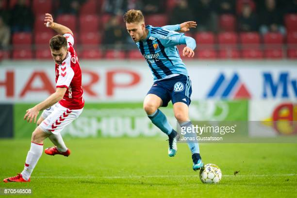 Felix Beijmo of Djurgardens IF running with the ball during the allsvenskan match between Kalmar FF and Djurgarden IF at Guldfageln Arena on November...