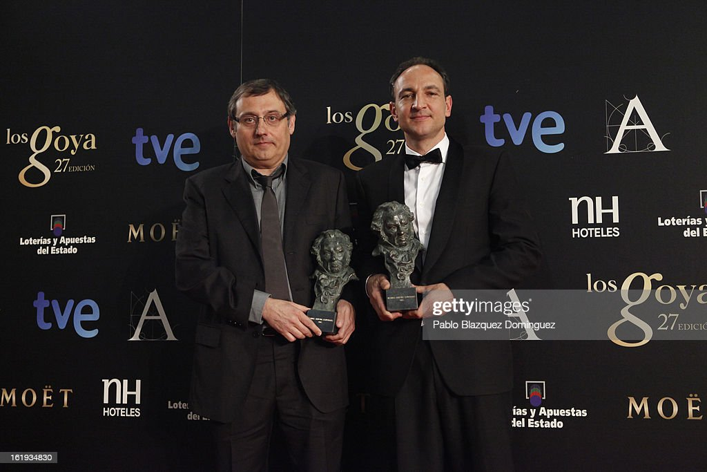 Felix Berges and Pau Costa hold the award for Best Special Effects in the film 'Lo Imposible' during the 2013 edition of the 'Goya Cinema Awards' ceremony at Centro de Congresos Principe Felipe on February 17, 2013 in Madrid, Spain.