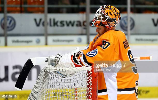 Felix Brueckmann goaltender of Wolfsburg looks dejected during the DEL match between Grizzly Wolfsburg and Koelner Haie at BraWo Ice Arena on...