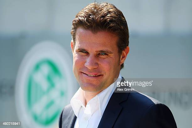 Felix Brych poses prior to a press conference of the German FIFA 2014 World Cup referees at DFB headquarters on May 19 2014 in Frankfurt am Main...