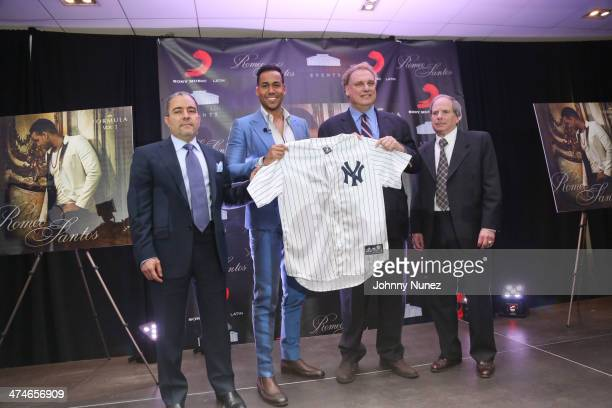 Felix Cabrera Romeo Santos Randy Levine and Lonn Trost attend Romeo Santos' 'Formula Vol 2' Album Release Press Conference at Yankee Stadium on...