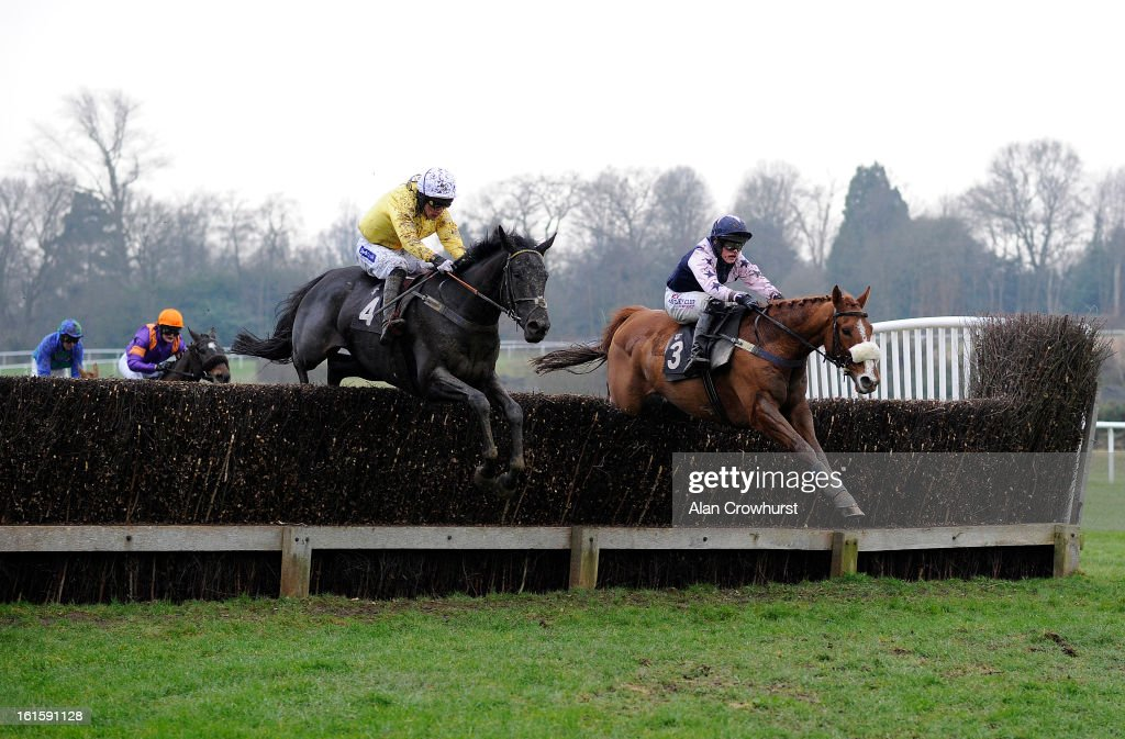 Felix de Giles riding Little Jimmy (yellow) clear the second last to win The Golf & Racing At Lingfield Park Resort Handicap Steeple Chase at Lingfield racecourse on February 12, 2013 in Lingfield, England.