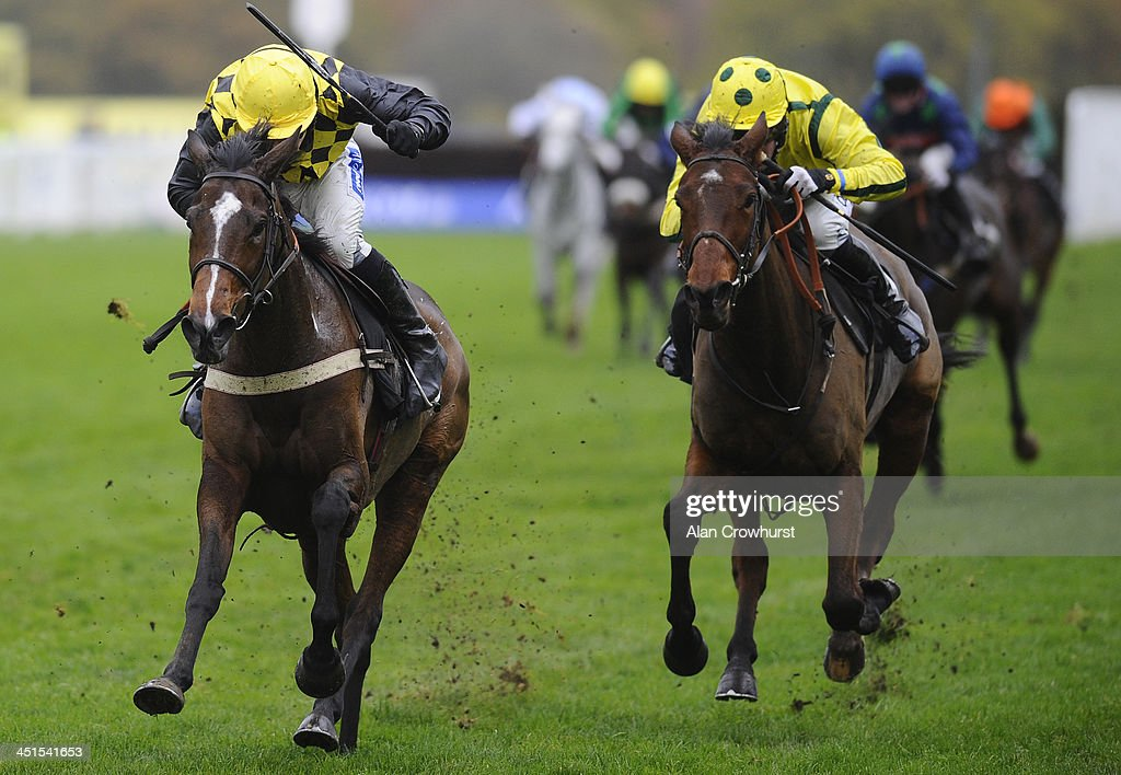 Felix de Giles riding Scholastica (L) win The Trisoft Mares' Handicap Hurdle Race at Ascot racecourse on November 23, 2013 in Ascot, England.