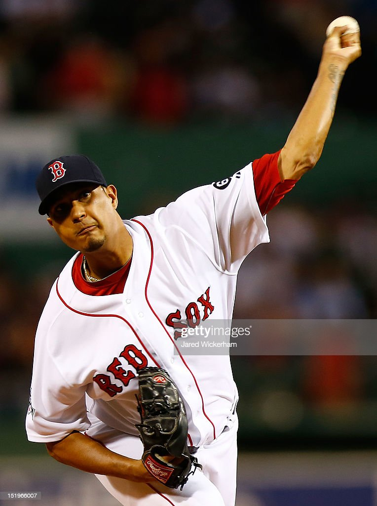 Felix Doubront #61 of the Boston Red Sox pitches against the New York Yankees during the game on September 13, 2012 at Fenway Park in Boston, Massachusetts.