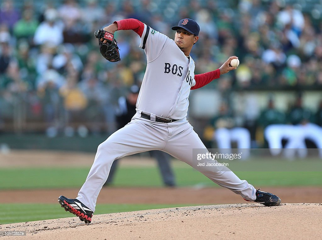 Felix Doubront #61 of the Boston Red Sox pitches against the Oakland Athletics during a Major League Baseball game at the O.co Coliseum on September 1, 2012 in Oakland, California.