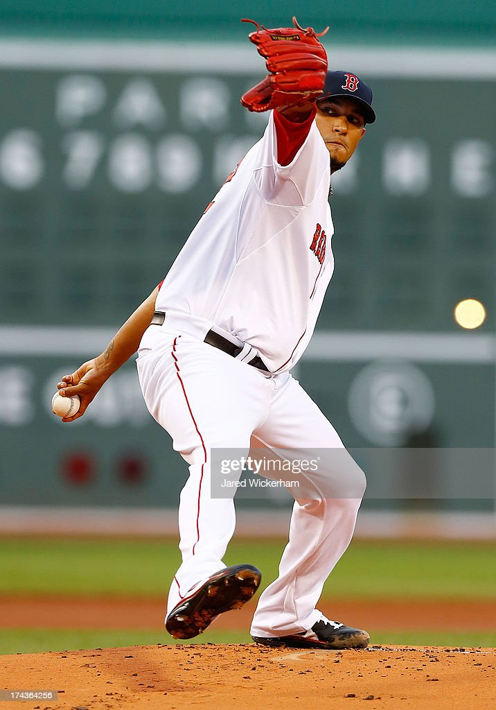 Felix Doubront #22 of the Boston Red Sox pitches against the Tampa Bay Rays during the game on July 24, 2013 at Fenway Park in Boston, Massachusetts.
