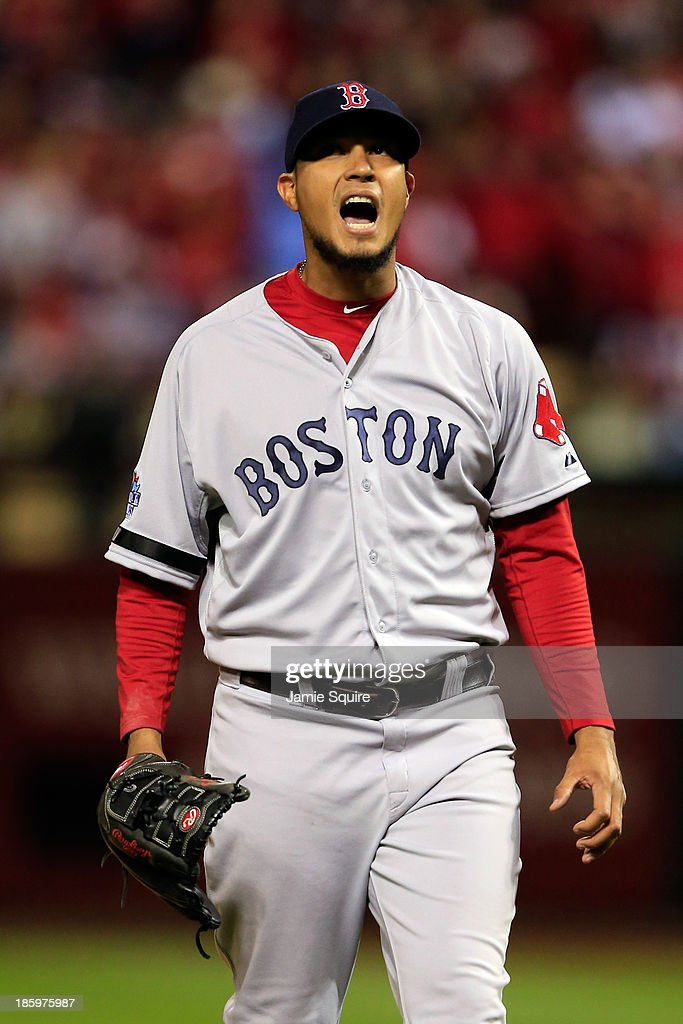 Felix Doubront #22 of the Boston Red Sox reacts in the fifth inning against the St. Louis Cardinals during Game Three of the 2013 World Series at Busch Stadium on October 26, 2013 in St Louis, Missouri.