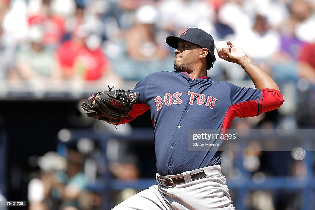 Felix Doubront #22 of the Boston Red Sox throws a pitch in the first inning of a game against the New York Yankees of a game at George M. Steinbrenner Field on March 18, 2014 in Tampa, Florida.