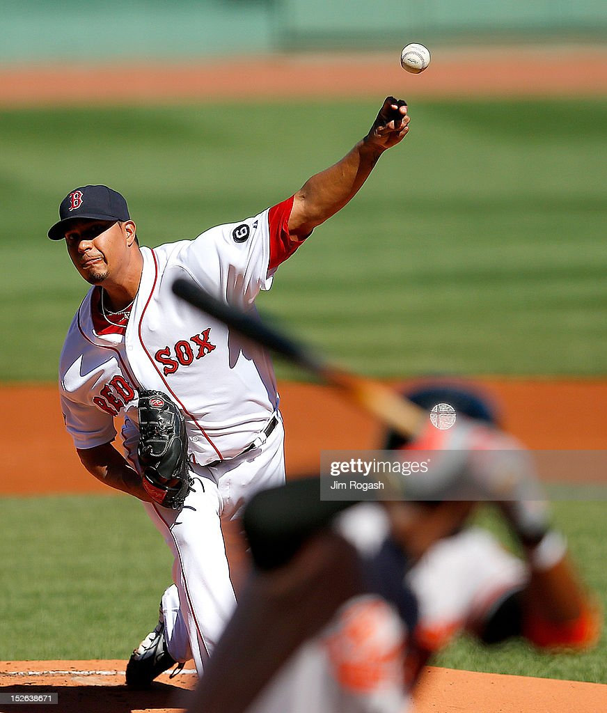 Felix Doubront #61 of the Boston Red Sox throws against the Baltimore Orioles in the first inning at Fenway Park on September 23, 2012 in Boston, Massachusetts.