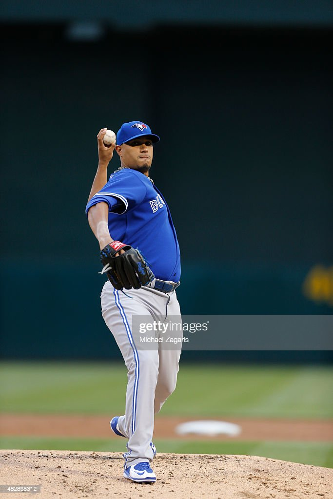 Felix Doubront #57 of the Toronto Blue Jays pitches during the game against the Oakland Athletics at O.co Coliseum on July 22, 2015 in Oakland, California. The Athletics defeated the Blue Jays 4-3.