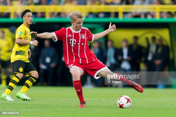 Felix Goetze of Munich controls the ball during the U19 German Championship Final match between U19 Borussia Dortmund and U19 Bayern Muenchen at...