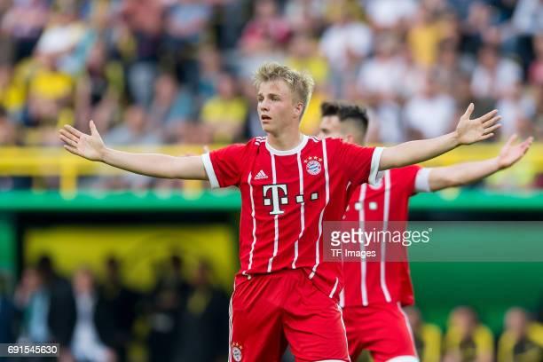 Felix Goetze of Munich gestures during the U19 German Championship Final match between U19 Borussia Dortmund and U19 Bayern Muenchen at Signal Iduna...