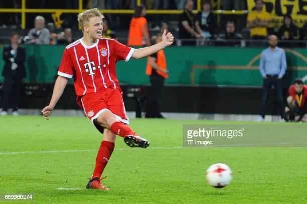 Felix Goetze of Munich in action during the U19 German Championship Final match between U19 Borussia Dortmund and U19 Bayern Muenchen at Signal Iduna...