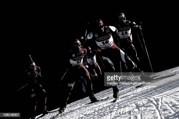 Felix Gottwald of Austria takes 3rd place Mikko Kokslien of Norway takes 2nd place Sebastien Lacroix of France during the DKB Nordic Combined FIS...