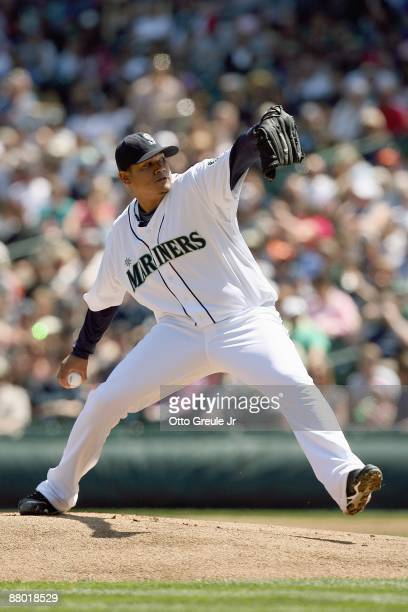 Felix Hernandez of the Seattle Mariners delivers the pitch during the game against the San Francisco Giants on May 24 2009 at Safeco Field in Seattle...