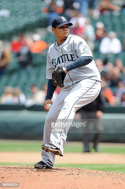 Felix Hernandez of the Seattle Mariners pitches against the Baltimore Orioles at Camden Yards on May 13 2010 in Baltimore Maryland