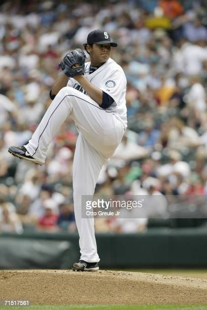 Felix Hernandez of the Seattle Mariners pitches against the Boston Red Sox on July 22 2006 at Safeco Field in Seattle Washington The Mariners...