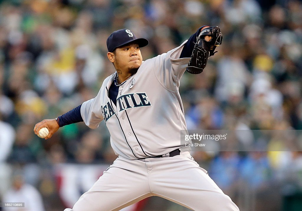 <a gi-track='captionPersonalityLinkClicked' href=/galleries/search?phrase=Felix+Hernandez&family=editorial&specificpeople=550749 ng-click='$event.stopPropagation()'>Felix Hernandez</a> #34 of the Seattle Mariners pitches against the Oakland Athletics during Opening Day at O.co Coliseum on April 1, 2013 in Oakland, California.