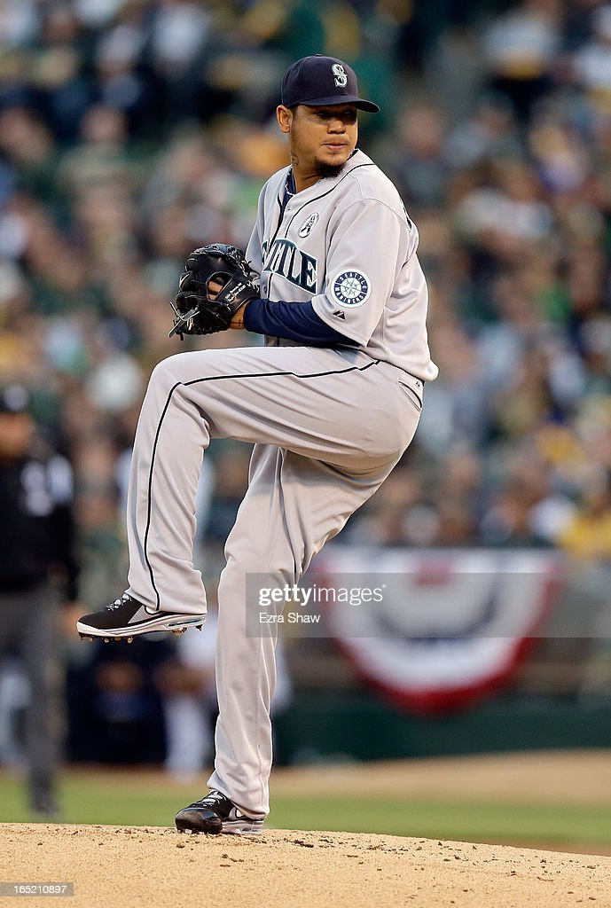 Felix Hernandez #34 of the Seattle Mariners pitches against the Oakland Athletics during Opening Day at O.co Coliseum on April 1, 2013 in Oakland, California.