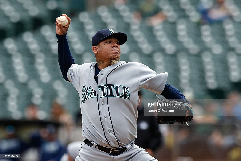 Felix Hernandez #34 of the Seattle Mariners pitches against the Oakland Athletics during the first inning at the Oakland Coliseum on May 4, 2016 in Oakland, California.
