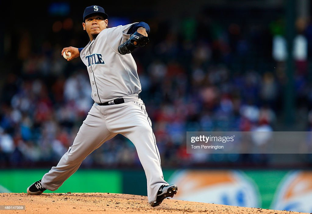 Felix Hernandez of the Seattle Mariners pitches against the Texas Rangers in the bottom of the first inning at Globe Life Park in Arlington on April...