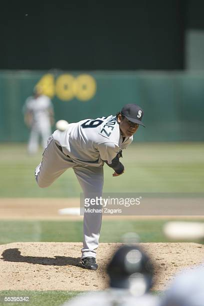 Felix Hernandez of the Seattle Mariners pitches during the game against the Oakland Athletics at McAfee Coliseum on September 5 2005 in Oakland...
