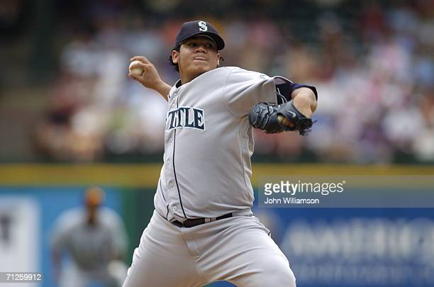 Felix Hernandez of the Seattle Mariners pitches during the game against the Texas Rangers at Ameriquest Field in Arlington Texas on May 31 2006 The...