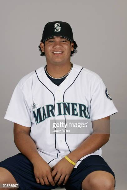 Felix Hernandez of the Seattle Mariners poses for a portrait during photo day at Peoria Sports Complex on February 27 2005 in Peoria Arizona