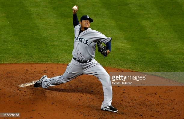 Felix Hernandez of the Seattle Mariners throws a pitch during the fourth inning of the game against the Houston Astros at Minute Maid Park on April...