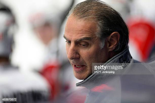 Felix Hollenstein headcoach of Kloten Flyers during the Champions Hockey League group stage game between HV71 Jonkoping and Kloten Flyers on August...