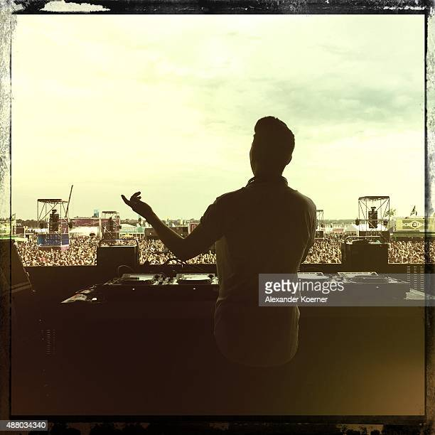 DJ Felix Jaehn live on stage during the second day of the Lollapalooza Berlin music festival at Tempelhof Airport on September 13 2015 in Berlin...