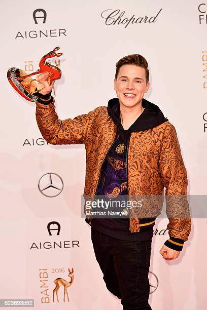 Felix Jaehn poses with award at the Bambi Awards 2016 winners board at Stage Theater on November 17 2016 in Berlin Germany