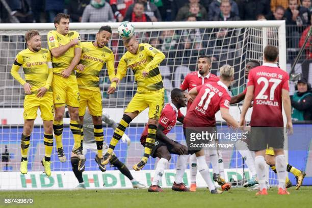 Felix Klaus of Hannover 96 scores his third goal to make it 32 during the German Bundesliga match between Hannover 96 v Borussia Dortmund at the HDI...