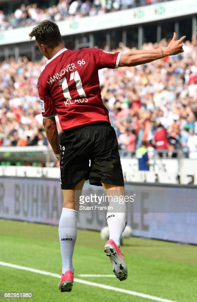 Felix Klaus of Hannover celebrates scoring his goal during the Second Bundesliga match between Hannover 96 and VfB Stuttgart at HDIArena on May 14...